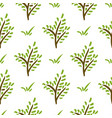 seamless plant pattern hand drawn green branch vector image