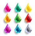 set cartoon drop pear different color crystals vector image vector image