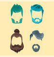 set of hipster retro hair style mustache vector image vector image