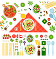 set pasta on floor icons flat vector image vector image
