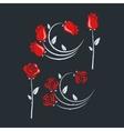 set rose flowers design background vector image