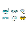 sport glasses icon set flat style vector image