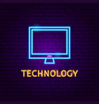 technology neon label vector image vector image