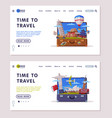 travel or tourism website landing page with open vector image