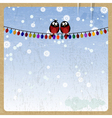 Two bullfinch on a Christmas garland vector image vector image