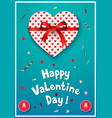 valentines day greeting card with gift box and red vector image