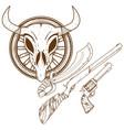 wild west guns slasher revolver shotgun outline vector image vector image