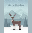 winter nature landscape with deer vector image