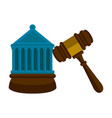 wooden gavel with a court building vector image