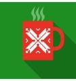 Christmas Red Mug With Hot Drink vector image