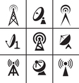 Antenna and satellite dish icons set vector image