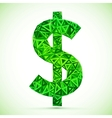 Green abstract triangles dollar symbol vector image