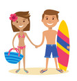adult couple standing on the beach vector image vector image