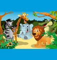 african animals in jungle vector image