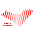 alagoas state map - mosaic of lovely hearts vector image vector image