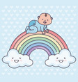 baby shower cute little boy in rainbow