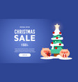 beautiful christmas poster with tree pigs vector image vector image