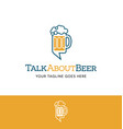 beer mug and talk bubble logo vector image vector image
