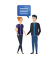 business couple talking characters vector image
