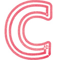 Capital letter C drawing with Red Marker vector image vector image