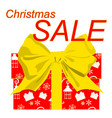 christmas sale poster with gift box and ribbon bow vector image