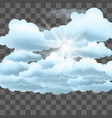 clouds and sun on transparent effect background vector image vector image