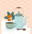 coffee time teapot coffee cup spoon seeds fresh vector image