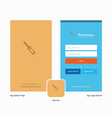 company screw driver splash screen and login page vector image vector image