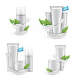 cosmetic set with white splash and green tea vector image vector image