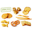 croutons crackers snacks set vector image