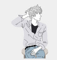 fashion drawing a man sitting on a chair vector image vector image