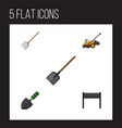 flat icon garden set of barbecue hay fork shovel vector image vector image