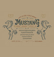 font mustang vintage typeface design vector image vector image