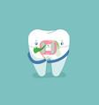 food stuck in brace tooth dental concept design vector image