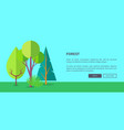 forest web banner with trees and bushes vector image vector image