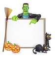 frankenstein halloween sign vector image vector image