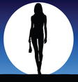 girl sexy on a moonlight color vector image