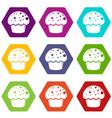 glaze cupcake icons set 9 vector image vector image