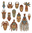 Hand drawn african masks vector image
