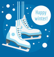 happy winter ice skate concept background flat vector image