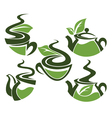 herbal tea collection cups and tea pots vector image vector image