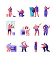 householders characters cleaning home repair vector image vector image