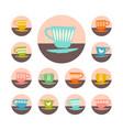 icon set retro mid century teacups design vector image