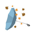 isolated umbrella invested with autumn leaves vector image