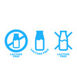 lactose free logo label milk bottle icon vector image vector image