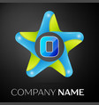 letter o logo symbol in the colorful star on black vector image vector image