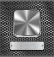 metal square button with rectangle plate on vector image vector image