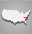 north carolina state location within united vector image vector image