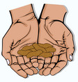 open hand with several peanut vector image vector image