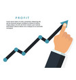 profit growing business concept finger up holding vector image vector image
